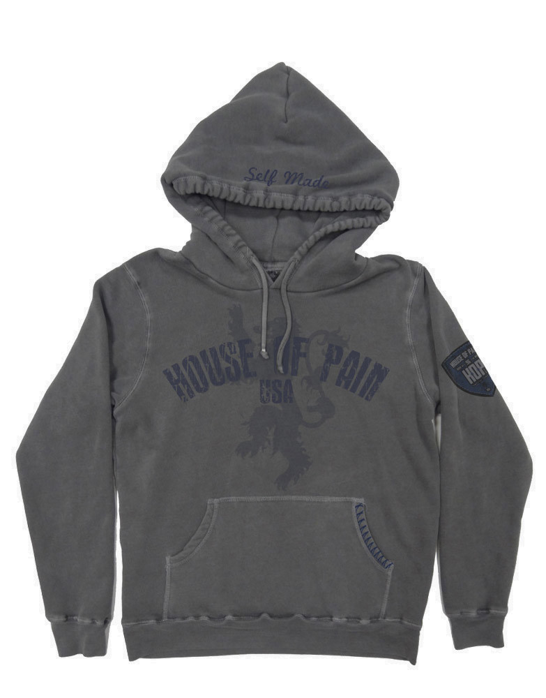 Lion Patch Hoodie By House Of Pain Colour Grey Pigment