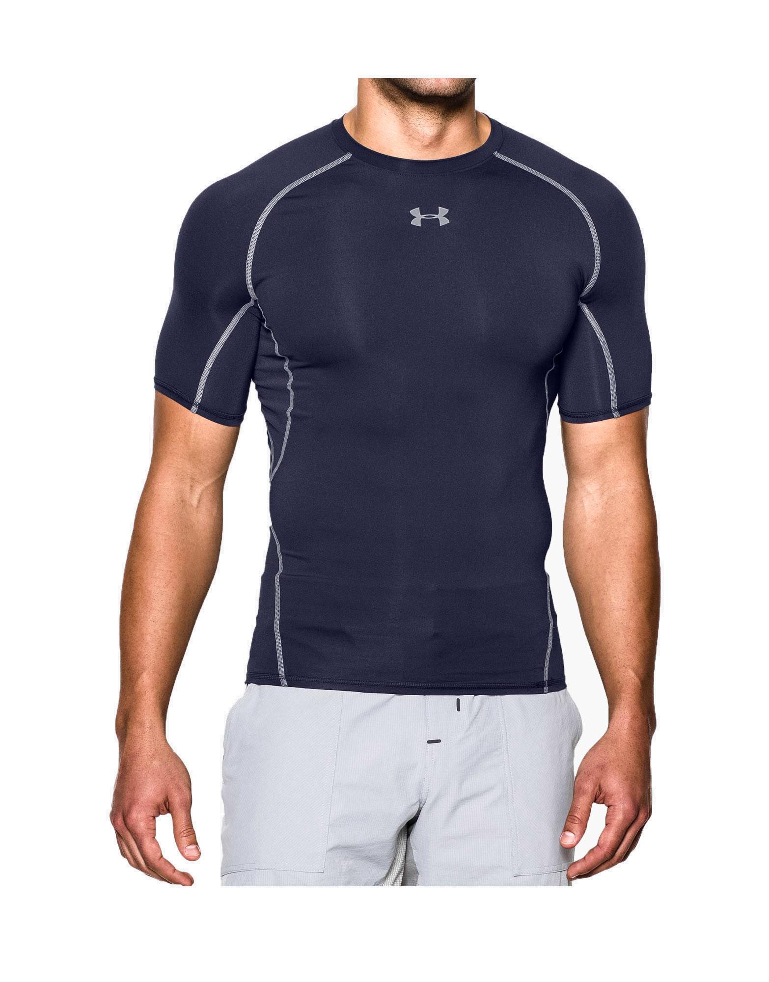 lavandería bahía Por lo tanto  Men's UA HeatGear Armour Short Sleeve Compression Shirt by Under armour,  Colour: Midnight Navy - iafstore.com