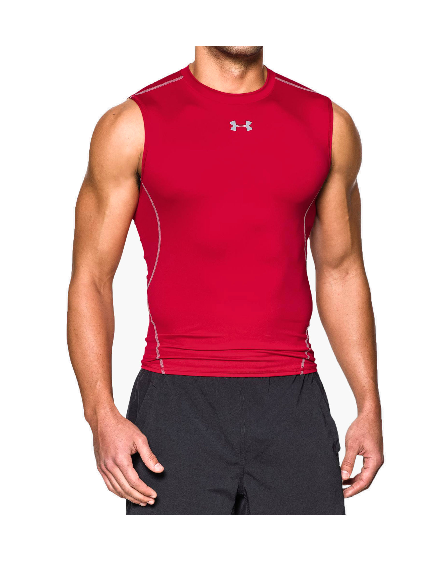 b23ba95cefd08 UNDER ARMOUR Men s UA HeatGear Armour Sleeveless Compression Shirt Colour   Red