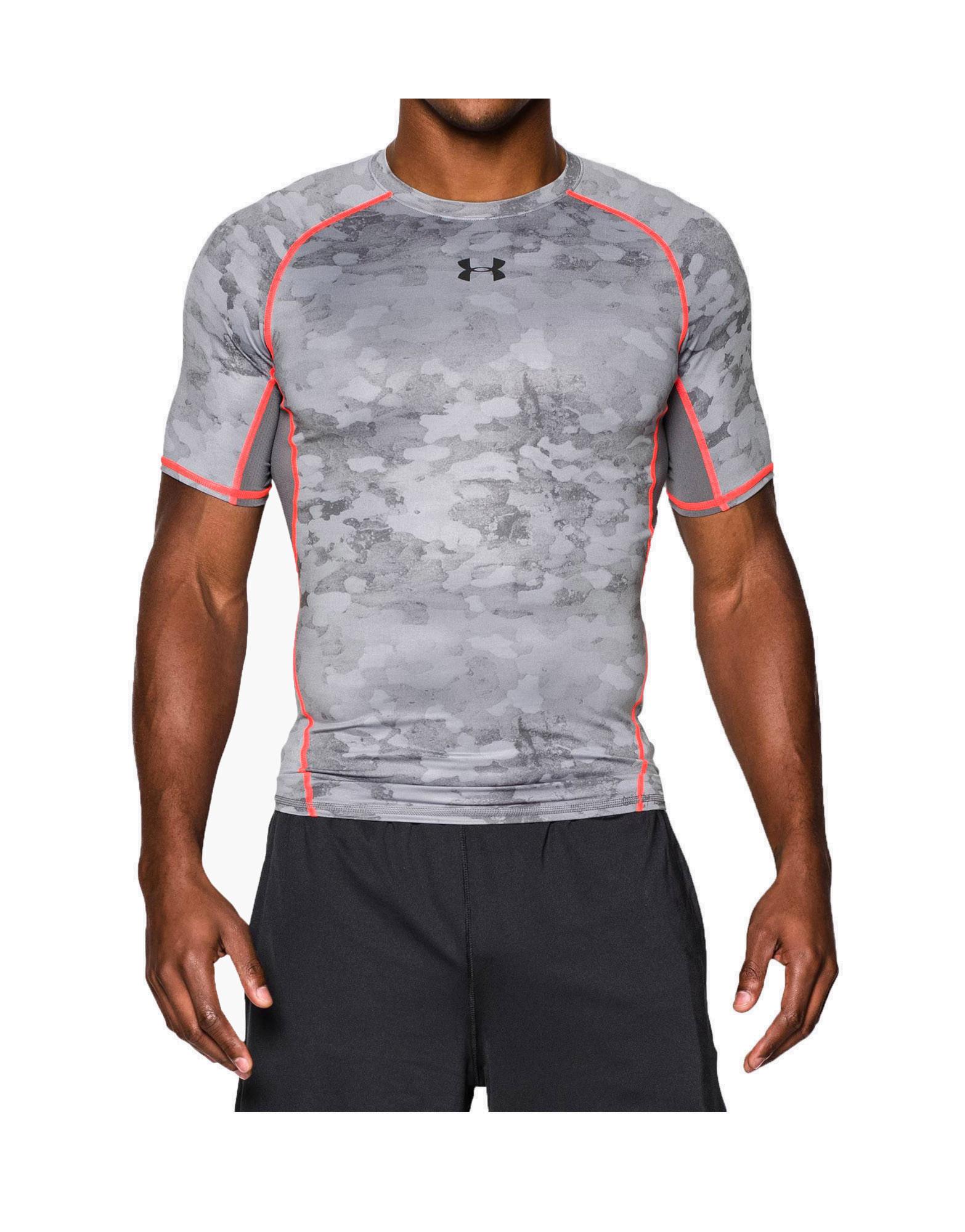 4bfa1fbf3450b Men s UA HeatGear Armour Printed Short Sleeve Compression Shirt Colour   Graphite   Bolt Orange