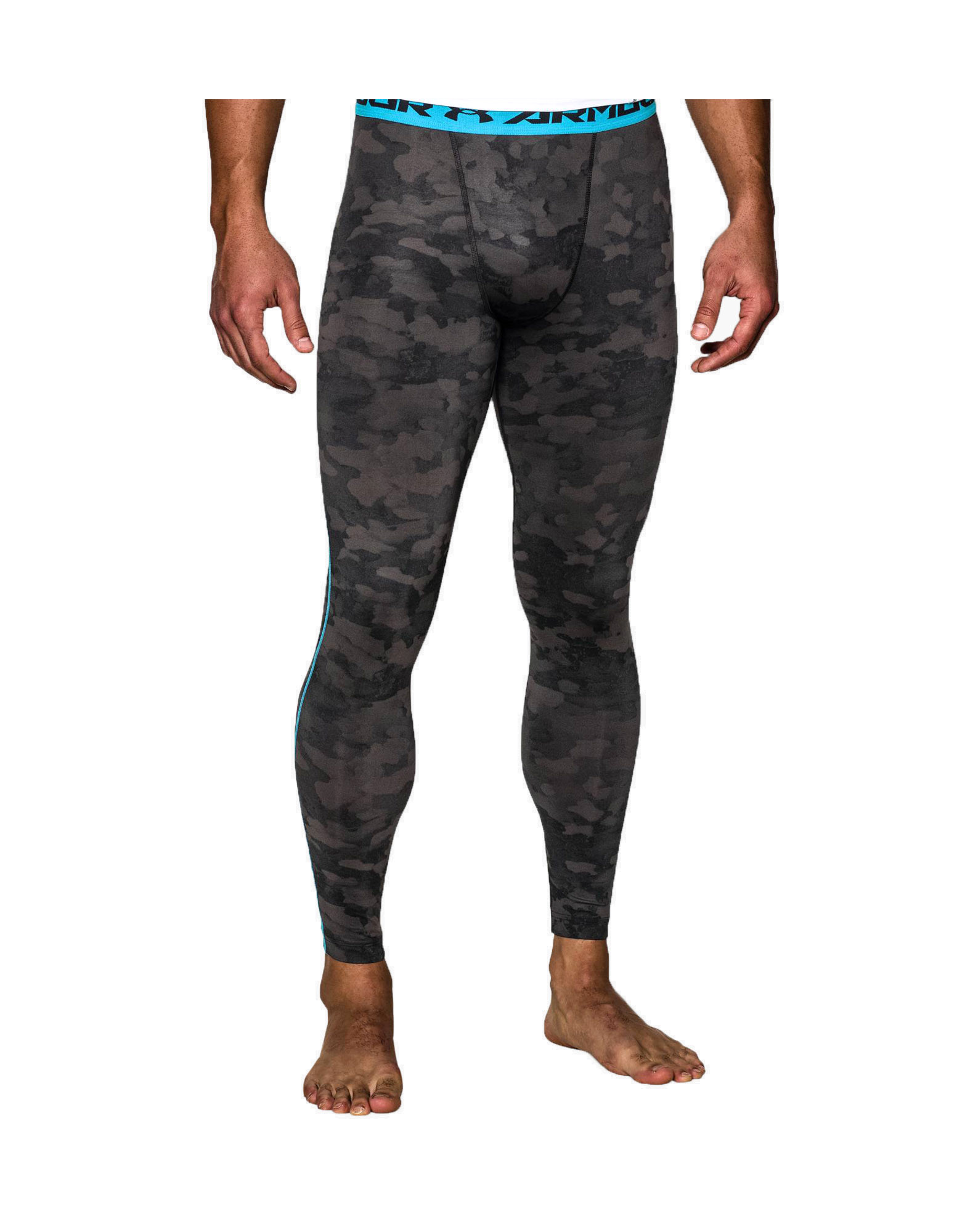 4e65b87f596bb UNDER ARMOUR Men's UA HeatGear Armour Printed Compression Leggings Colour:  Black / Island