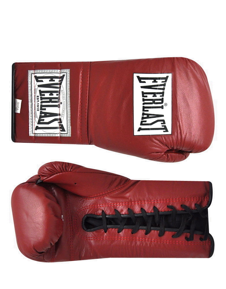Shiv Naresh Teens Boxing Gloves 12oz: Leather Laced Training Gloves By EVERLAST BOXING (colour: Red