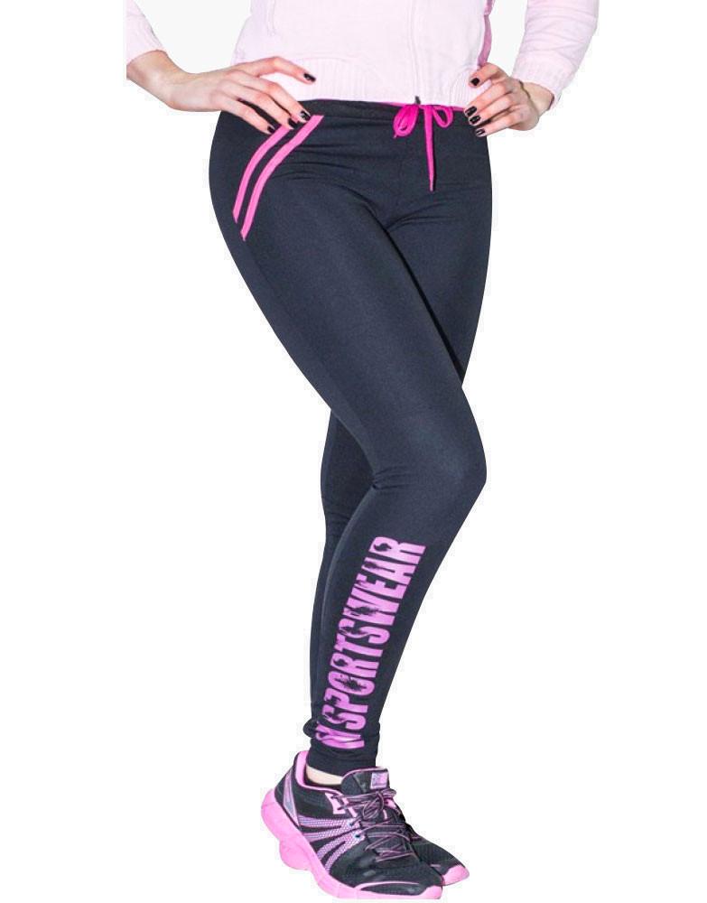 e664ecd9ac6838 MNX Womens Black Look Tights by MNX SPORTSWEAR (colour: black / pink)