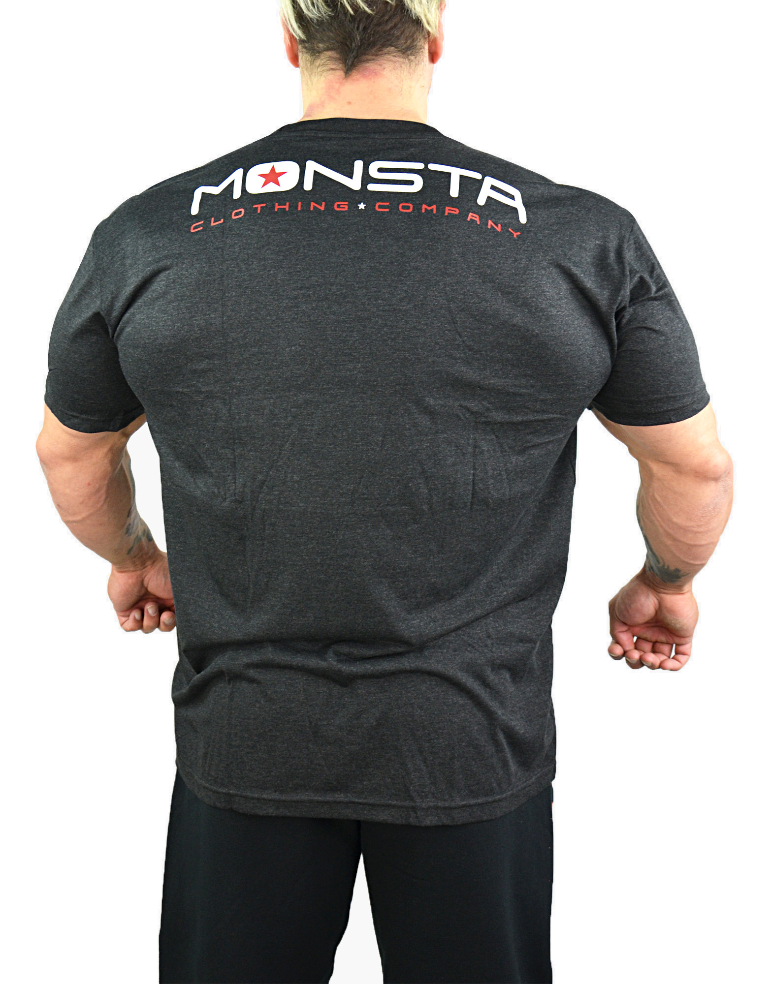 Bodybuilding tri blend by monsta clothing co colour black for Dress shirts for bodybuilders